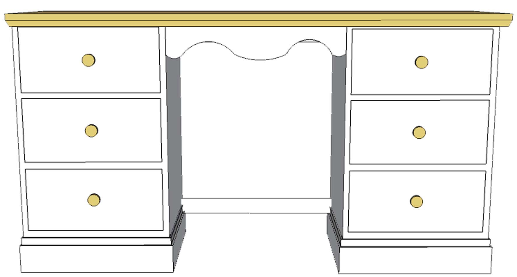 Cornish Painted Double pedestal dressing table