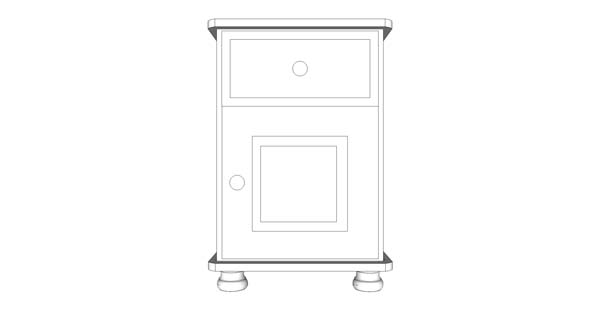 wiltshire 1 Door 1 Drawer Bedside