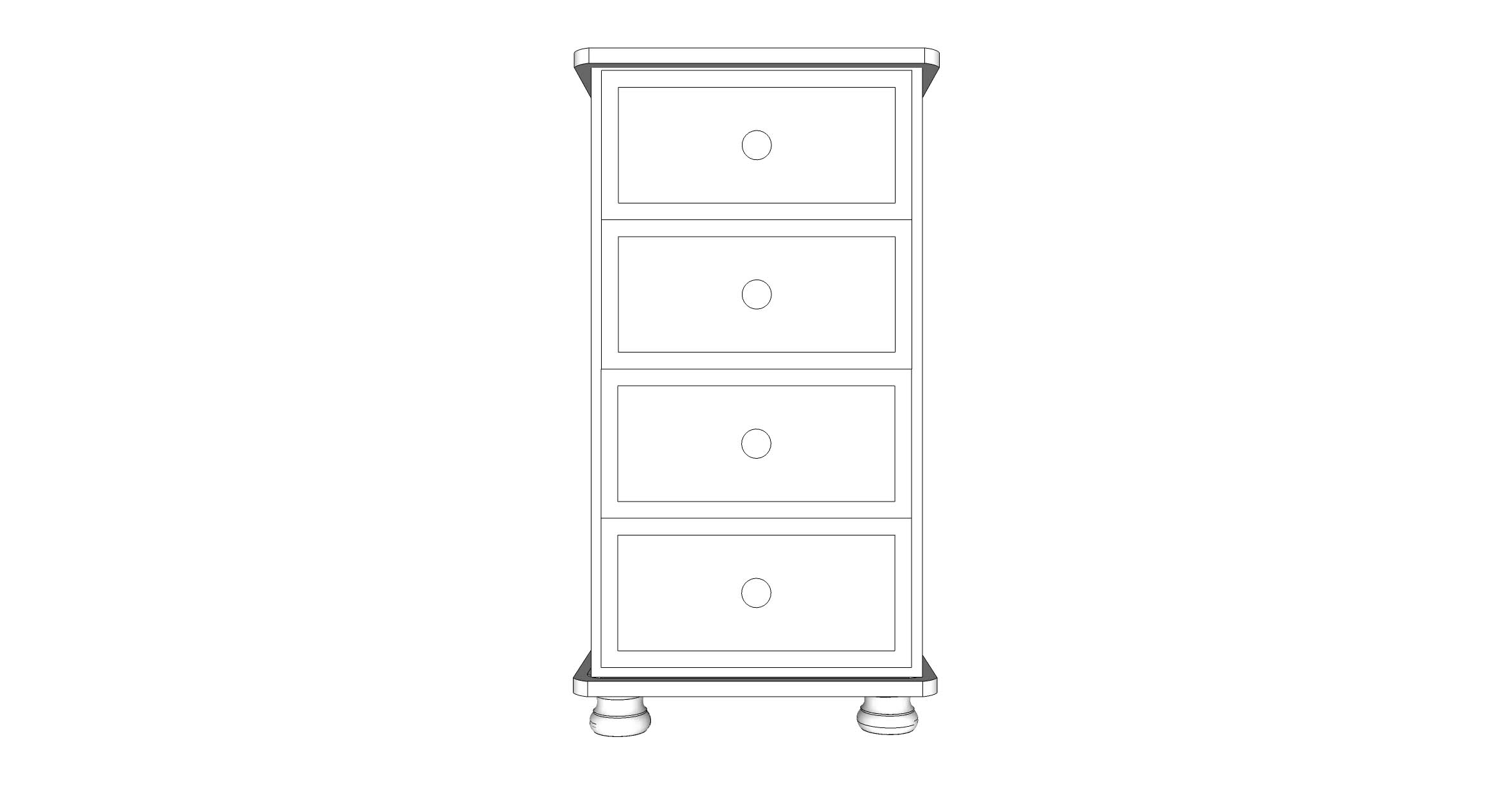 wiltshire 4 Drawer Wellington Chest