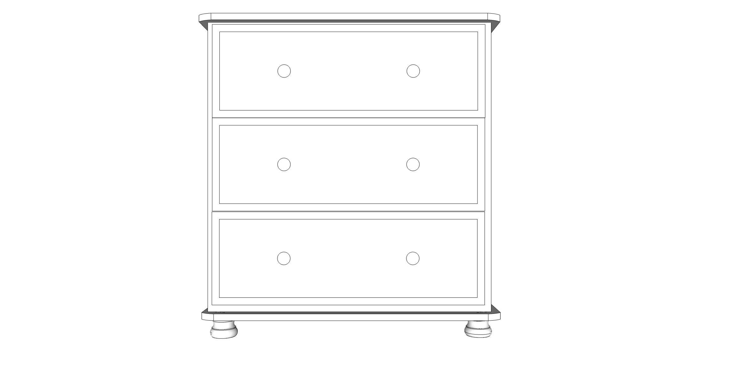 wiltshire 3 Drawer Jumbo Chest